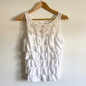 Hollister White Lace Ruffle Tank Top